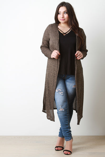 Marled Elbow Patch Open Knit Longline Cardigan