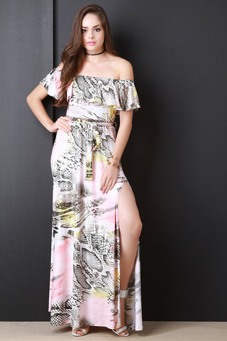 Mixed Print Ruffle Bardot Maxi Dress