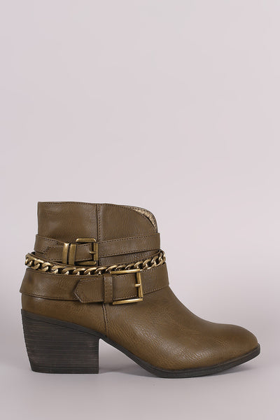 Liliana Buckled Strappy Chain Cowgirl Block Heeled Booties