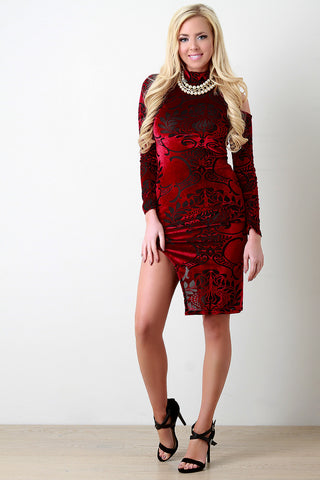 Flocked Velvet One Cold Shoulder Mesh Slit Dress