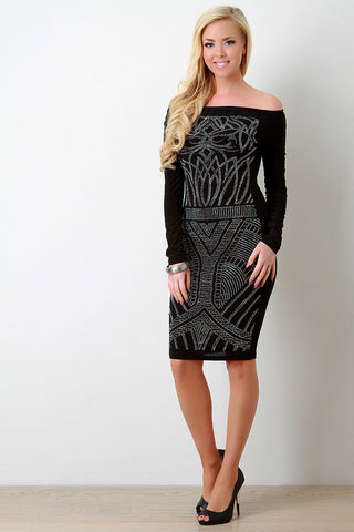 Rhinestone Embellished Off-The-Shoulder Bodycon Dress