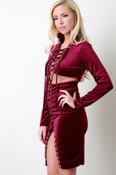 Velvet Strappy Lace-Up Open Midriff Bodycon Dress