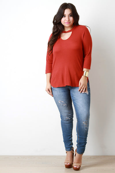 Three Quarter Sleeve Keyhole Neckline Thermal Top