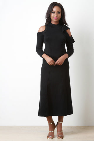 Asymmetrical Cold Shoulder Sweater Dress