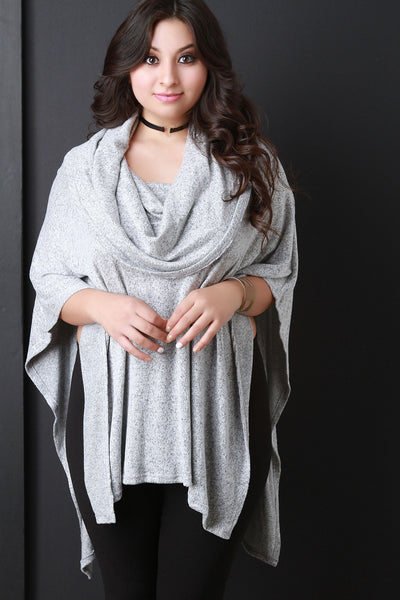 Marled Knit Cowl Neck Poncho