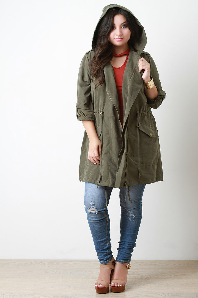 Hooded Zip Up Drawstring Utility Trench Coat