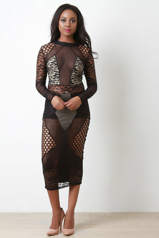 Semi-Sheer Mesh and Lace Panel Maxi Dress