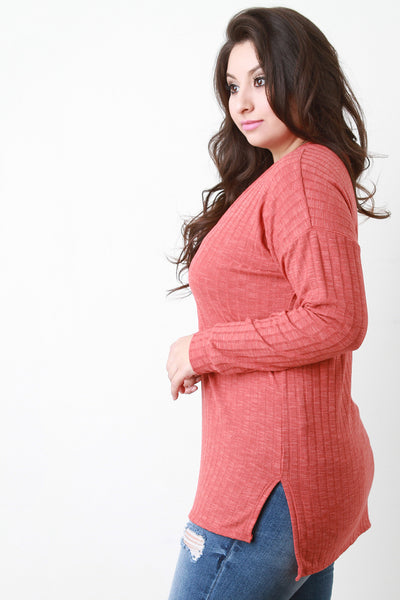 Ribbed Knit Squared Hem Sweater Top