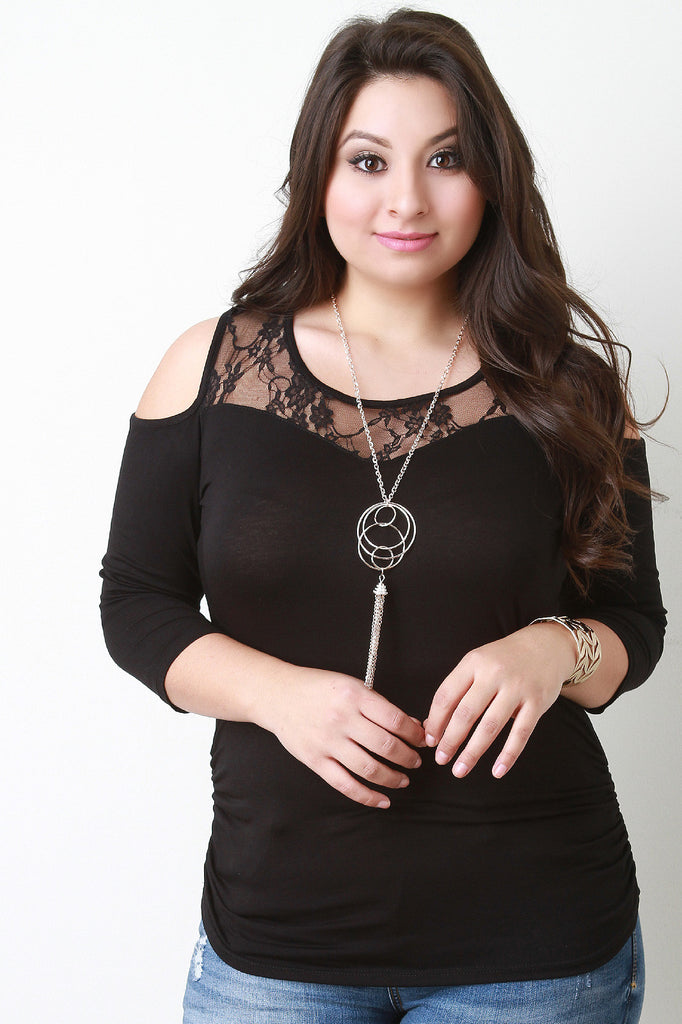 Lace Yoke Cold Shoulder Necklace Top