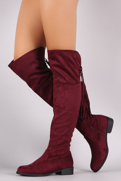Suede Back Tassel Corset Lace Up Riding Boots