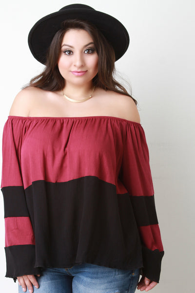 Color Block Bardot Bell Sleeve Top