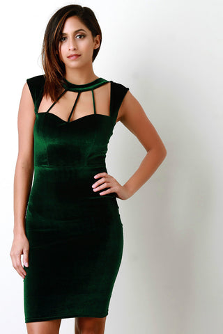 Velvet Caged Strappy Yoke Sleeveless Mini Dress