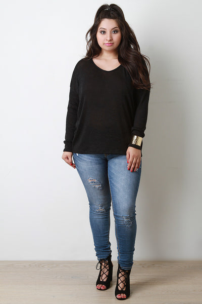 Knitted Drop Shoulder Loose Sweater