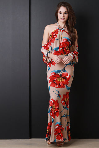 Floral Halter Cold Shoulder Maxi Dress