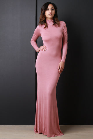 Long Sleeve Turtle Neck Knit Maxi Dress