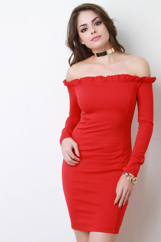 Ruffle Neckline Off The Shoulder Bodycon Dress