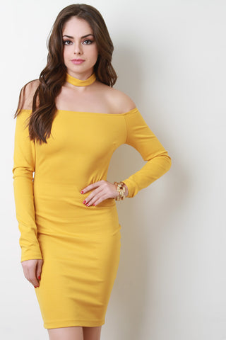 Off The Shoulder Matching Collar Bodycon Dress