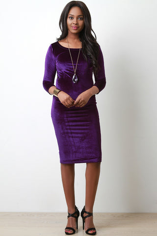 Velvet Quarter Sleeves Midi Dress