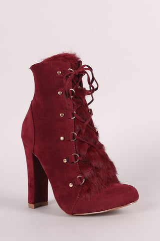 Shoe Republic LA Fur Lace Up Chunky Heeled Booties