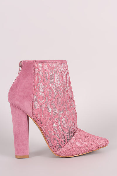 Shoe Republic LA Suede Lace Pointy Toe Chunky Heeled Booties