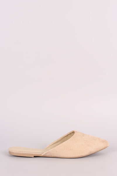 Wild Diva Lounge Suede Pointy Toe Mule Loafer Flat