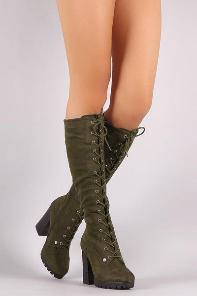 Wild Diva Lounge Lug Sole Chunky Heeled Combat Lace Up Boots