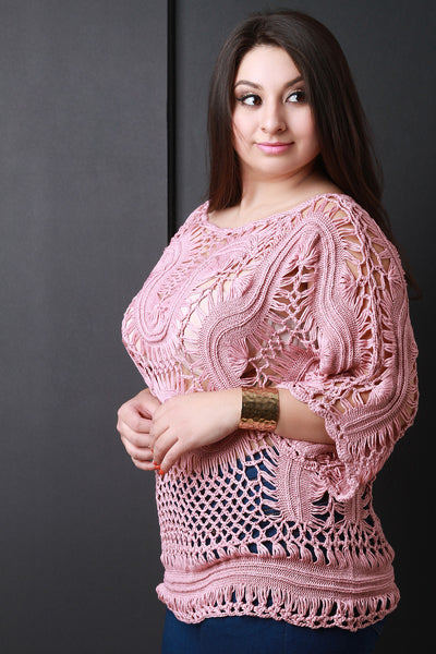 Rounch Neck Crochet Knit Top