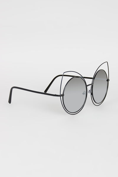 Wire Frame Cat Eye Mirrored Sunglasses