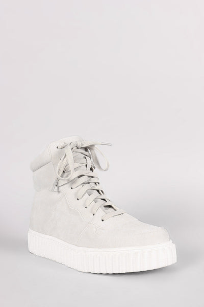 Nubuck Round Toe Lace Up High Top Creeper Sneaker