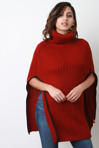 Knitted Turtle Neck Poncho