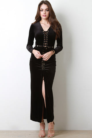 Lace Up Velvet Maxi Dress