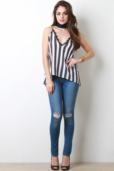 Eyelash Lace Trim Striped Top