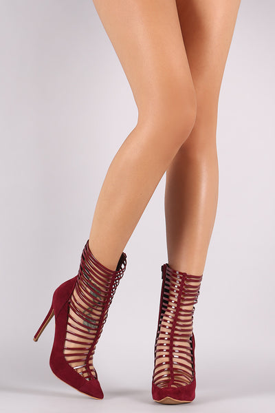 Shoe Republic LA Caged Pointy Toe Stiletto Booties
