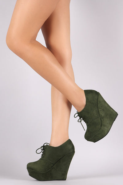 Suede Oxford Lace Up Platform Wedge Booties
