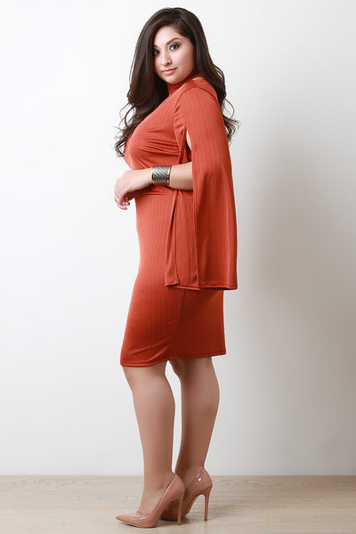 Split Long Sleeve Deep V Collared Dress
