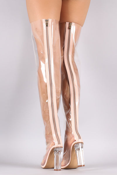 Lucite Pointy Toe Chunky Heeled Over-The-Knee Boots