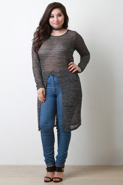 Front Slit Maxi Sweater