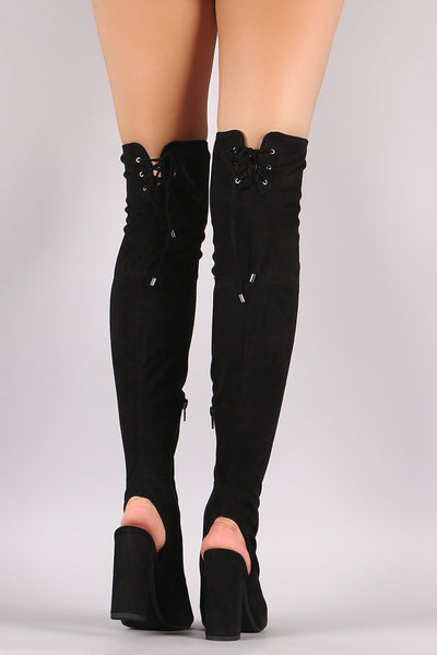 Delicious Suede Corset Lace Up Chunky Heeled Boots