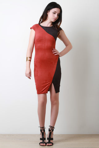 Color Panel Faux Suede Bodycon Dress