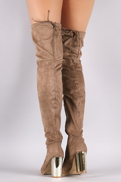 Suede Drawstring Tie Chunky Metallic Heeled Over-The-Knee Boots