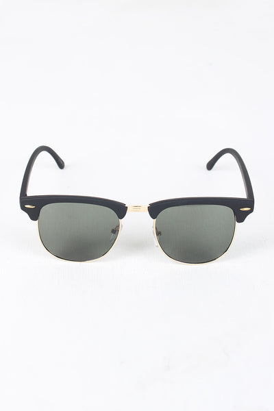 Semi-Rimless Wayfarer Design Sunglasses
