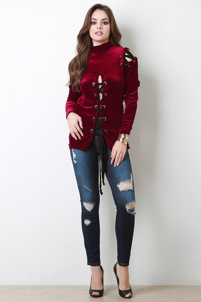 Soft Velvet Cold Shoulder Lace Up Top