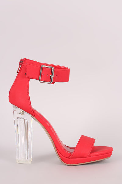Delicious Buckled Ankle Strap Chunky Lucite Heel