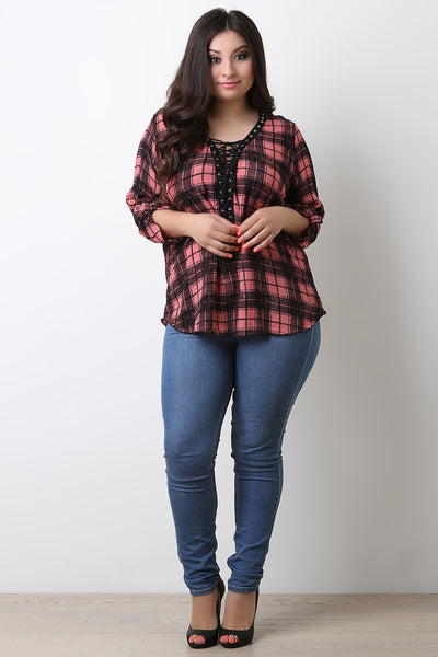 Plaid Corset Lace Up Top
