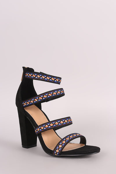 Bamboo Embroidered Suede Strappy Caged Chunky Heel