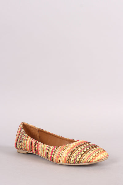 Multicolor Tribal Lace Round Toe Ballet Flat
