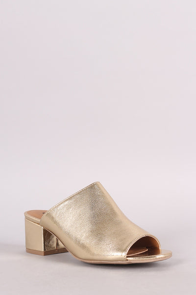 Qupid Metallic Open Toe Blocked Mule Heel