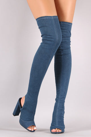 Cutaway Heel Fitted Over-The-Knee Denim Boots