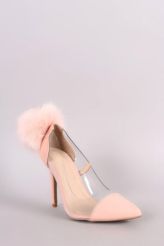 Qupid Nubuck Fur Pom Pom Pointy Toe Lucite Pump