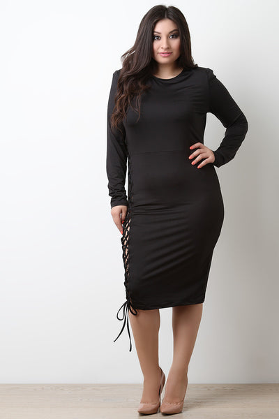 Round Neck Laced Up Side Midi Dress